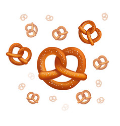 realistic tasty pretzels on white vector image