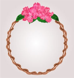 Round frame with rhododendron greeting card vector