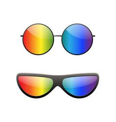 round multicolor sunglasses 3d set summer vector image