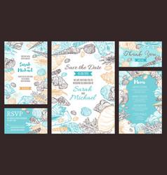 Save the date party invitation marine sketch menu vector