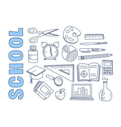 School stationary equipment set back to school vector