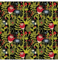 Seamless background with cartoon flowers vector image