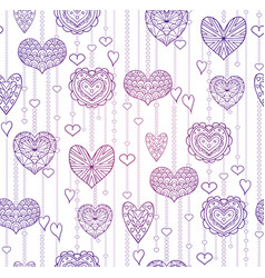 seamless lilac texture with hanging doodle hearts vector image