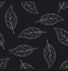 seamless pattern with white contours leaves vector image