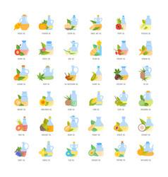 set flat icons oils vector image