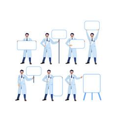 Set isolated on white background man doctor vector