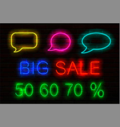 set neon signs with luminous for sales speech vector image