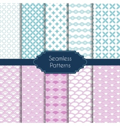 Set of geometric seamless patterns vector image