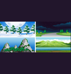 set of nature landscape vector image