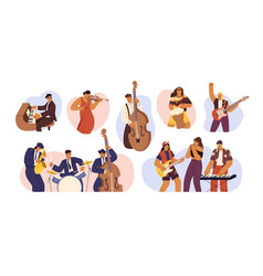 set people with different musical instrument vector image