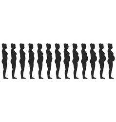 set silhouette a pregnant female women vector image
