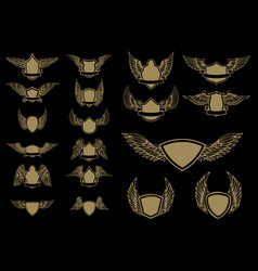 set winged emblems in golden style design vector image