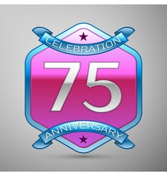 Seventy five years anniversary celebration silver vector
