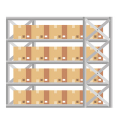 Shelving warehouse with boxes vector