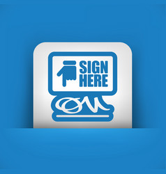 Sign on document icon vector