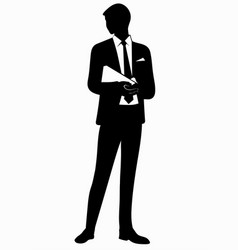 Silhouette of business man in tie vector