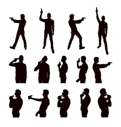 Silhouettes person with gun vector