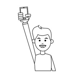 Smiling man holding smartphone icon image vector