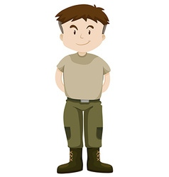 Soldier in green uniform vector image