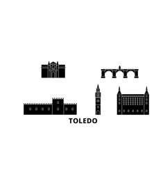 spain toledo flat travel skyline set spain vector image