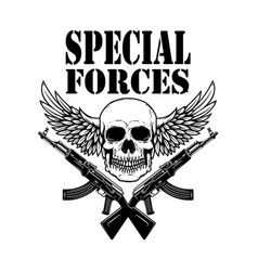 Special forces crossed assault rifles ak-47 vector