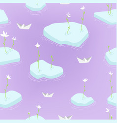 Spring seamless pattern of ice floes first vector