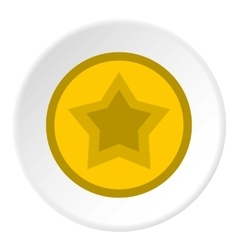 Star in circle icon flat style vector