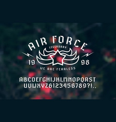 Stencil-plate sans serif font and air force emblem vector
