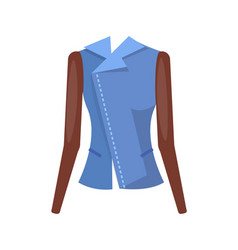 stylish female denim jacket with leather sleeves vector image