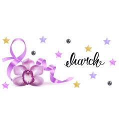 Symbol march 8 with a purple orchid flower vector