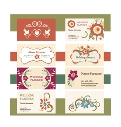 template vintage business cards vector image