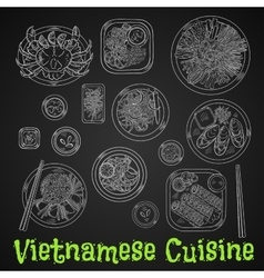 Vietnamese dinner chalk sketch on blackboard vector