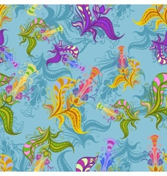 Vintage pattern of colored spring flowers vector