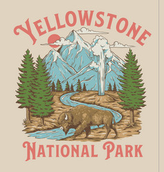 Vintage yellowstone national park bison mountain g vector