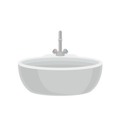 white bathroom sink with tap bathroom furniture vector image