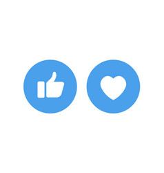 white like and heart icons in blue circle for vector image