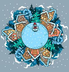 winter village landscape with a snowman vector image