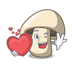 with heart champignon mushroom mascot cartoon vector image