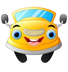 Yellow funny cartoon car vector image