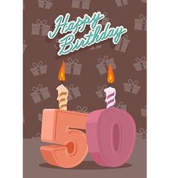 50 year happy birthday card vector