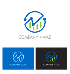 business finance chart round logo vector image