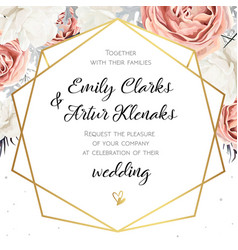 floral wedding invitation invite card design with vector image vector image