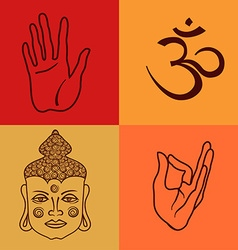 Isolated icons or seamless pattern of buddhism vector image