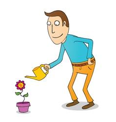 Man wattering flower vector image vector image