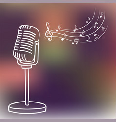 old microphone and music notes hand drawn vector image