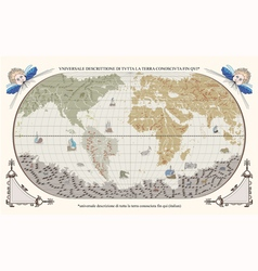 retro old globe with monsters and ships vector image vector image