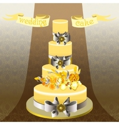 Wedding cake with yellow iris flower design vector