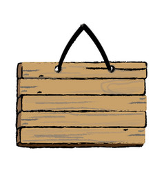 Wooden rustic signboard hanging from a rope vector