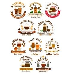 Coffee sorts emblems set for cafe restuarant vector image