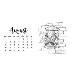 Desk calendar template for month august vector